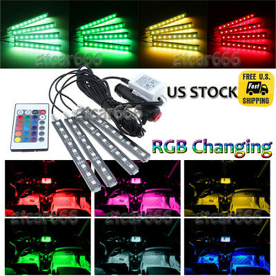 4X Rgb Full Color Led Interior Car Kit Under Dash Footwell Seats Inside Lighting