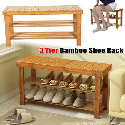 Natural Bamboo Shoe Bench 3-Tier Shoe Rack Organizer Entryway Storage Shelf Seat