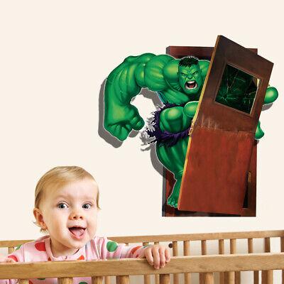 Hulk 3D Wandtattoo Kinderzimmer Aufkleber Wandsticker Marvel Avengers Spiderman