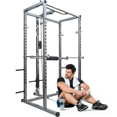 Power Cage with Lat Pull-Down and Low Row Home Gym Equipement Squat Cages US
