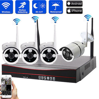 4CH 1080P NVR Outdoor Waterproof 720P HD Wifi IR-CUT Camera Home Security System