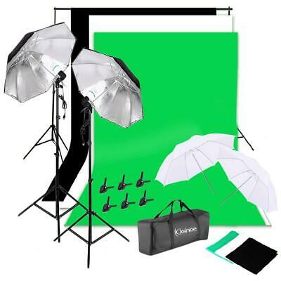 NEW Photo Studio Lighting Photography 2 Backdrop Stand Light Kit Umbrella Set US