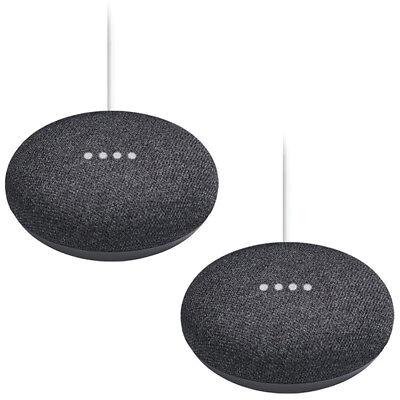 Google Home Mini Smart Speaker (GA00216-US) 2-Pack Bundle - Charcoal