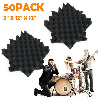 "USA 50 PACK 12""X12""X2"" Acoustic Foam Panel Wedge Studio Soundproofing Wall Tiles"