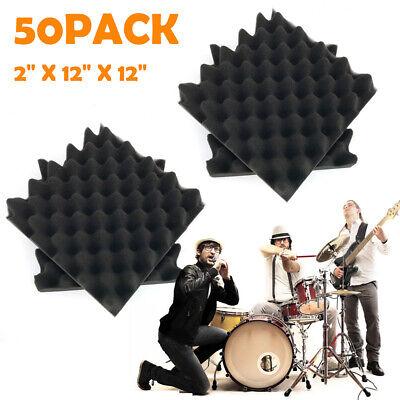 50pcs Acoustic Foam Panel Wedge Bass Trap Studio Soundproofing Sponge Wall Tiles