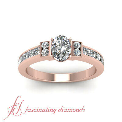 1.50 Ct Channel Set Wedding Ring With Oval Shaped Diamond In 14K Rose Gold GIA 1