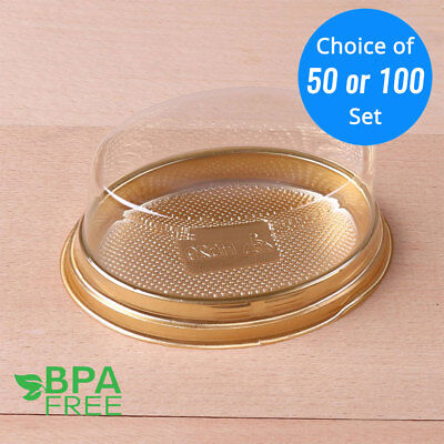 50/100 Gold Base Oval To-Go Platter Cake Bread Container w/ Clear Lid OA - Plastic Cake Containers