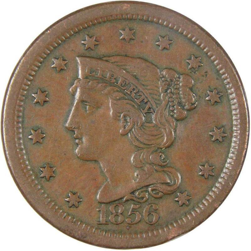 1856 Slanting 5 1c Braided Hair Large Cent Penny Coin VF Very Fine