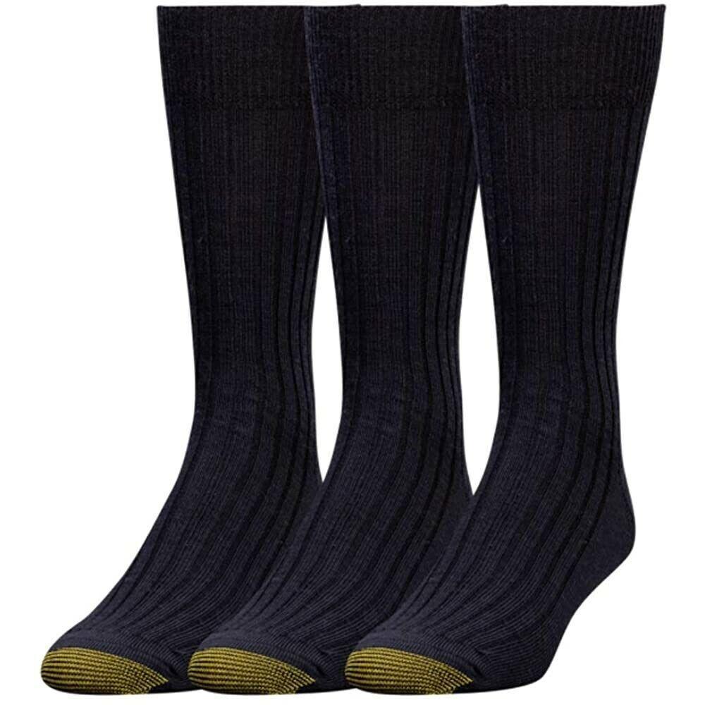 Gold Toe Men's 3 Pair Pack Black Watson Wool Crew Dress Sock