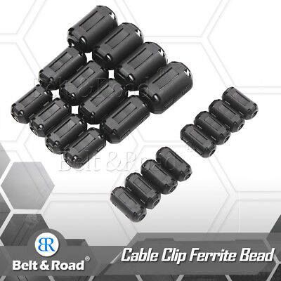 20x Ring Core Ferrite Bead Clamp Choke Coil Rfi Emi Noise Filter Clip Snap Cable