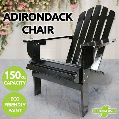 Garden Furniture - Adirondack Chair Outdoor Furniture Garden Beach Deck Lounge Black Wooden Patio