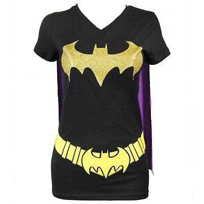 Damen DC Comics Batwoman Umhang T-Shirt Schwarz NEU Batman Lizensiert - Batwoman Kostüm Shirt