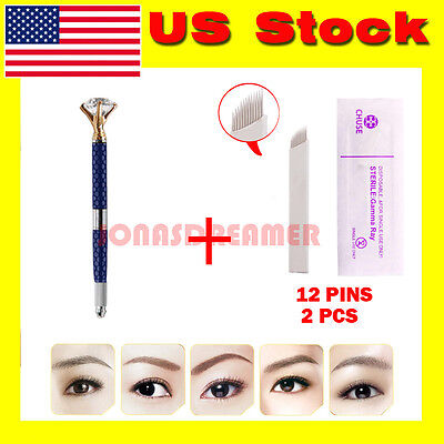 Microblading Permanent 3D Makeup Pen Eyebrow Tattoo Pen Pigment Cups Needles Kit