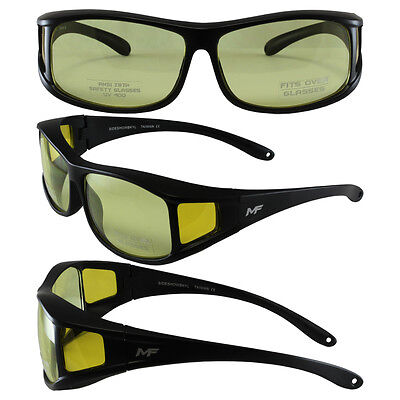 Motorcycle Sunglasses FIT OVER PRESCRIPTION GLASSES Fitover & POUCH YELLOW (Prescription Motorcycle Sunglasses For Men)