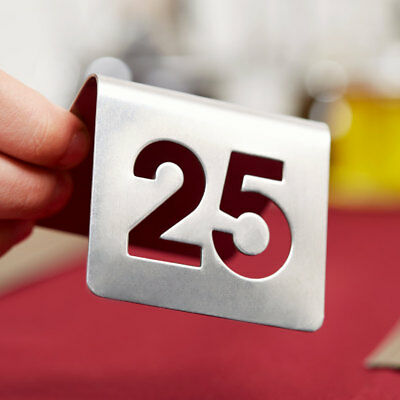 1-25 Stainless Steel 2 Silver Restaurant Table Tent Number Stand Seating Sign