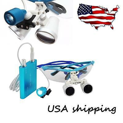 Dental Surgical Magnifier Binocular Loupes Zoom 3.5x420mm Led Headlight Lamp Kit