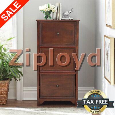 File Cabinet Storage 3-drawer Vertical Filing Drawer Wood Chestnut Home Office