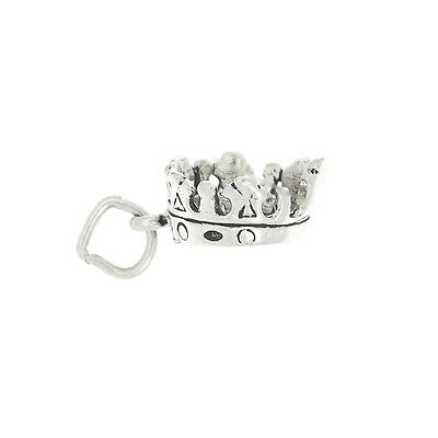 STERLING SILVER 3D KING'S CROWN CHARM OR PENDANT