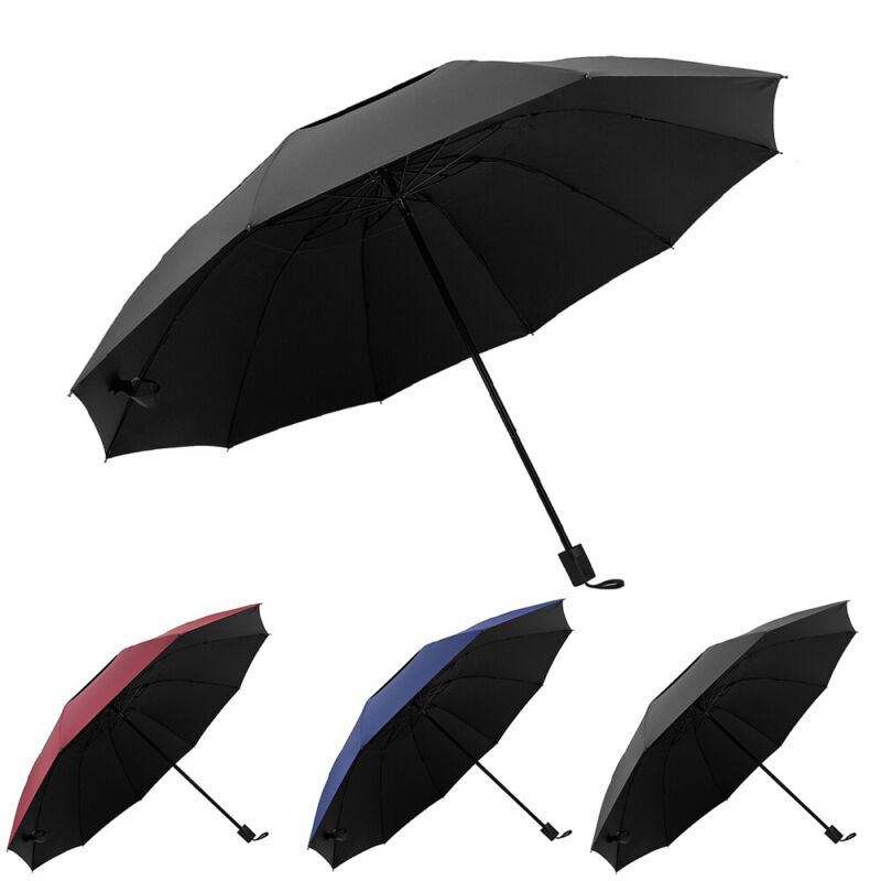"""60"""" Extra Large Golf Umbrella Oversize Sun Rain Windproof Folding Double Canopy"""