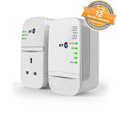 BT Wi-Fi 600 Home Hotspot Plus Powerline Wireless Network Booster Kit in White