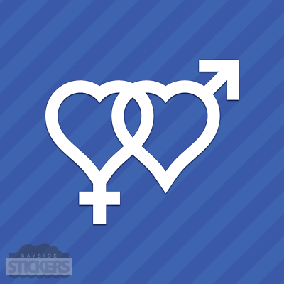 Male Female Heart Gender Symbol Vinyl Decal Sticker Heterose