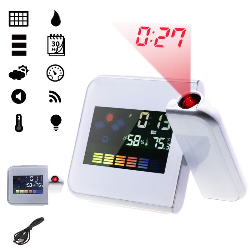 Neue Digital Projektionsuhr Wecker Uhr Kalender LED Temperaturanzeige DE