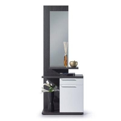 Recibidor con espejo mueble entrada, vestibulo moderno, Blanco Brillo y Ceniza
