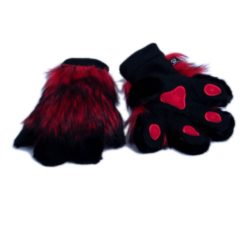 PAWSTAR Pawmitts - Furry Hand Paw Gloves Fursuit Costume Red black [RDW]3181