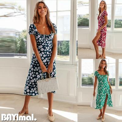 Women Square Neck Floral Midi Dress Ladies Summer Beach Holiday Split Sundress