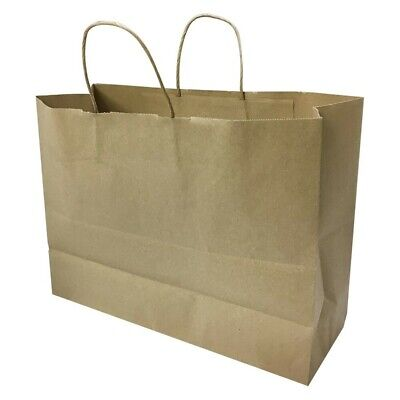 100pc 16 Inch Vogue Shopping Brown Kraft Gift Bags With Rope Handles Retail
