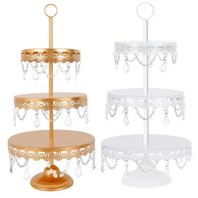 3 Tier Metal Cake Cupcake Stand Tray Crystal Dessert Display Tower Plate Wedding (Cupcake Towers)