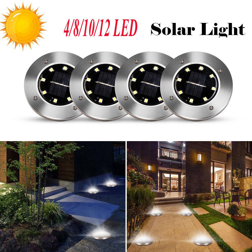 4x 8LED Waterproof Solar Underground Lamp Buried Light Garden Yard Lawn Path Way