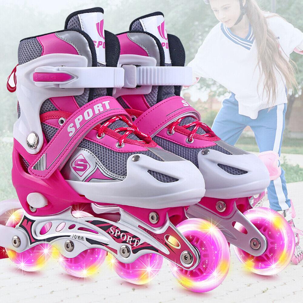 Inline Skates für Kinder Rollschuhe Einstellbare Größe 26-41 Mädchen Junge DHL