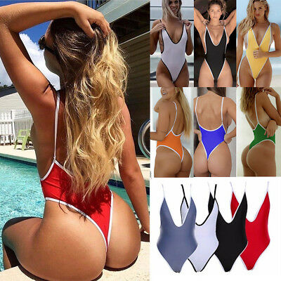 bfaf69a54c One Piece Women V Neck Thong Bikini Monokini Swimsuit Swimwear Bathing  Beachwear