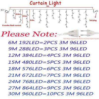 Indoor Outdoor christmas String Fairy Wedding Curtain Light - 96-1500 LED Lights