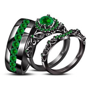 14k Black Gold Finish 2ct Green Emerald His Her Trio Wedding Ring Set