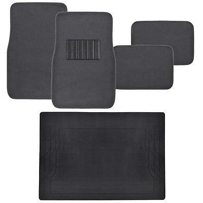 Car Floor Mats 5pc set Carpet Floor Protection w/ Cargo Trunk Mat - Charcoal Car Floor Mat Set Rug