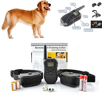 NEW LCD 100LV Level Shock Vibra Remote Pet 2 Dog Training Collar For 10lb-130lb  on Rummage