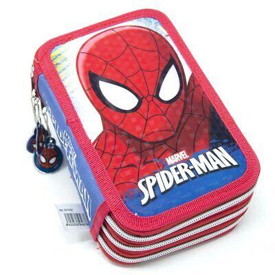 Astuccio Portapastelli Scuola 3 Zip Spiderman con Pastelli e Pennarelli Giotto