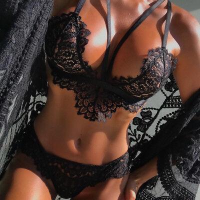 Women Lingerie Corset Lace Flowers Push Up Top Bra+Briefs Underwear Set