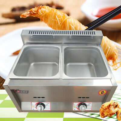 12l Commercial Countertop Gas Fryer 6lx2 Deep Fryer Natural Gaspropane Fryer