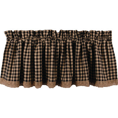 Country Heritage House Lace Black Check Lined Valance 72X15.5 Cotton