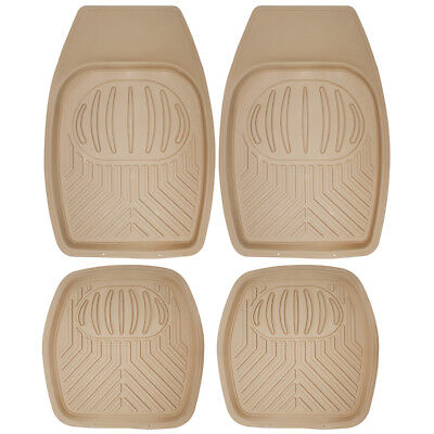 Car Floor Mats for All Weather Rubber 4pc Set Pan Tech Fit Heavy Duty Beige