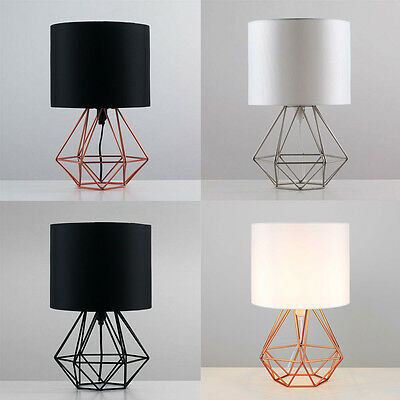 Geometric Retro Style Wire Cage Table Lamps Bedside Lights Copper Chrome Black