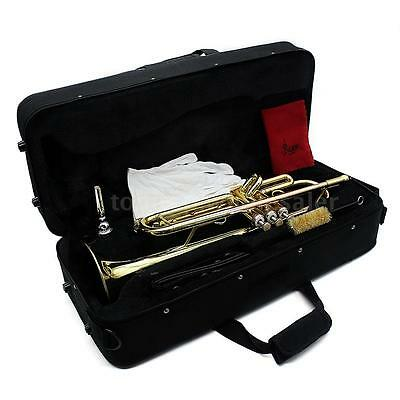 Trumpet Bb B Flat Brass Exquisite with Mouthpiece Gloves Strap+Case O2L7