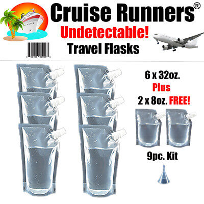 Cruise Ship Flask Kit 32oz Rum Runners Alcohol Liquor Smuggle Booze Wine Bags