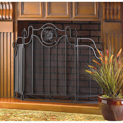 TUSCAN DESIGN FIREPLACE SCREEN BLACK FOLDING CAST IRON DECOR NEW~34770