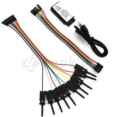 Usb Logic Analyzer Saleae 24mhz 8ch With Test Hook Clips Kits For Arm Fpga M100