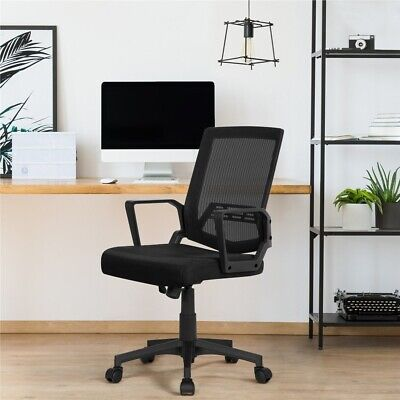 Mesh Chair Ergonomic Executive Swivel Office Chair Mid Back Computer Desk Black
