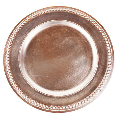 Beaded Trim Charger Plate, Rose Gold, - Rose Gold Charger Plate